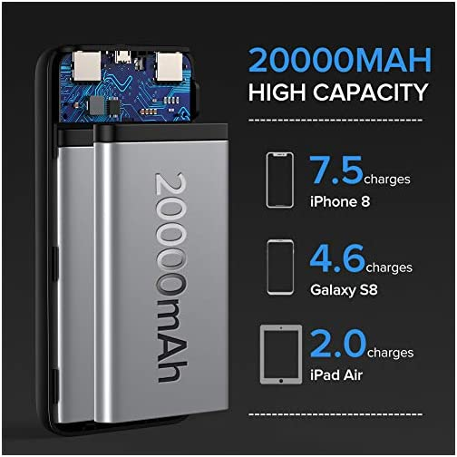 INIU Portable Charger, 18W PD3.0 QC4.0 Fast Charging LED Display 20000mAh Power Bank, Tri-Outputs Battery Pack… 4