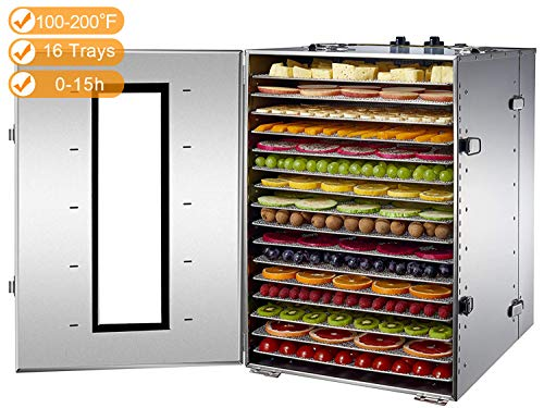 Li Bai Large Commercial Dehydrator Industrial Food Dryer 16 Trays Stainless Steel Large Capacity 100-200F Temperature Control Adjustable 15 Hour Timer
