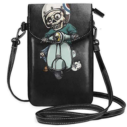 shenguang Damen Umhängetaschen - Zombie On Scooter Kleine Handy Geldbörse Brieftasche mit Kreditkartenfächern