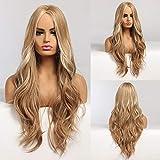 HAIRCUBE Long Curly Hair Perücken für Frauen Ash Blonde Synthetic Hair Perücke Middle Parting