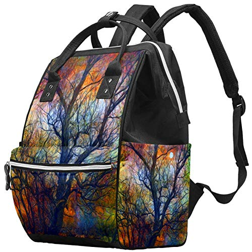 TIZORAX Dead Tree Moon Spooky Fall Autumn Night Diaper Bag Travel Mom Bags Nappy Backpack Large Capacity for Baby Care