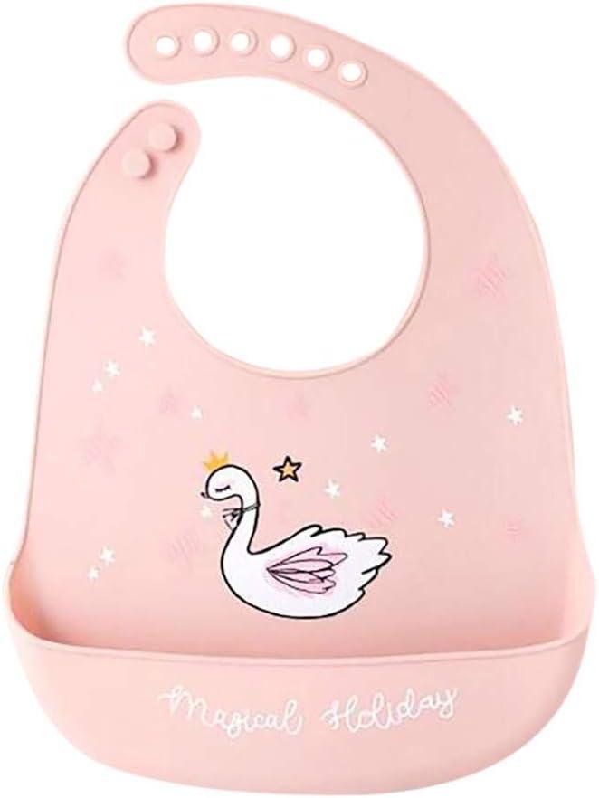 Silikon Baby L/ätzchen mit Tasche Wasserdichter Halstuch mit Verstellbaren Druckkn/öpfen Verschluss Kuscheliges L/ätzchen Waschbares L/ätzchen Handtuch zum Absetzen Kleinkind Baby