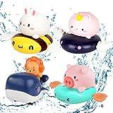 4 Stück Baby Badespielzeug,Badewannenspielzeug Schildkröten,Kunststoff Badewanne Spielzeug,Badewanne Pool Spielzeug Uhrwerk Schildkröte,Schwimmbad Spielzeug Für Kleinkinder Jungen Mädchen