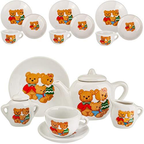 17 TLG. Set _ Puppengeschirr / Teeservice & Kaffeeservice - Teddybär - Tiere - Geschirr Porzellan / Keramik - Porzellangeschirr - Kinderküche - Picknickset Pu..