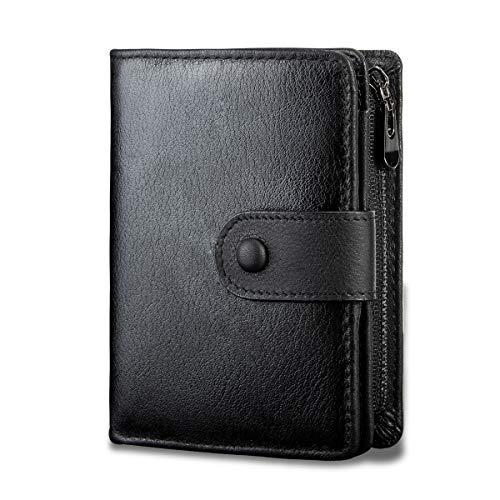 Portefeuille pour Homme en Cuir Veritable, LUROON Minimalistes Porte-Monnaie Homme Petit RFID Blocage Portefeuille Trifold Porte-Cartes avec Poche à Monnaie Zippée (Noir)