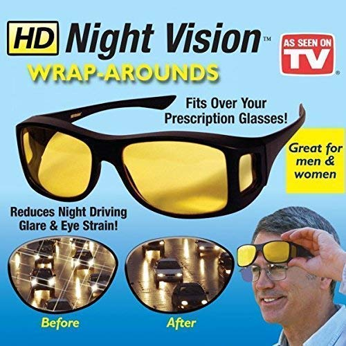 METEOROID Men's Oversized HD Polarized Night and Day Vision Glasses for Driving Bike (Black and Yellow) -Pack of 2, Large