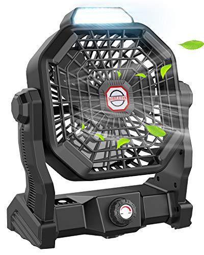 Leise Ventilator, Tesoky 10400mAh Wiederaufladbar 270° Rotieren Tischventilator Tragbar LED Licht Outdoor Camping Ventilator mit Haken/USB-Aufladung für Büros,Schlafzimmer,Zelt,Camping Reisen