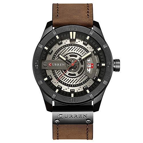 Curren Quartz Uhren Herren, Casual Analoge Quartzuhr, Multifunktionale Militär Sport Wristwatch Männer Armbanduhr, Wasserdicht Lederarmband mit Datumsanzeige 8301 (Khaki)