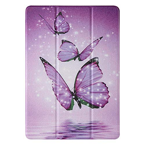 JIan Ying Case for Huawei MediaPad M5 lite 10.1' Tri-fold Lightweight Protective Cover Purple butterfly