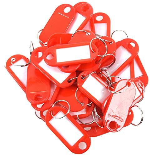 Exanko Targhette portachiavi in plastica per bagaglio ID Label-Portachiavi con targhetta porta-nome, 30 pezzi, colore: rosso