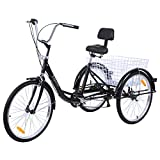 "Iglobalbuy Black 6 SpeedThree Wheel Adult Tricycle Trike 24"" W/Large Size Basket"