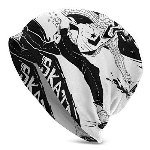 Pizeok Rauchen Trinken Skateboard City Tornado Beanie Hut für Männer und Frauen - Warme Unisex Cuffed Plain Skull Knit Hat Cap
