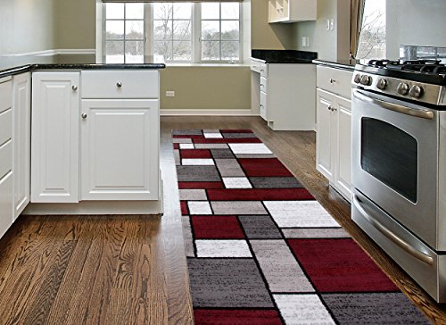 Contemporary Modern Boxes Runner Rug 2' x 7'2' Red