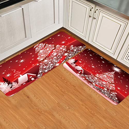 Prime Leader 2 Piece Non-Slip Kitchen Mat Runner Rug Set Doormat Christmas Tree Decoration Background Door Mats Rubber Backing Carpet Indoor Floor Mat (15.7' x 23.6'+15.7' x 47.2')