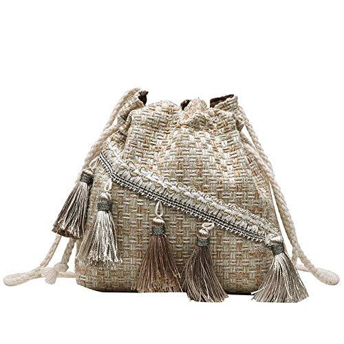 Bolso de borla de estilo étnico, bolsa de paja tejida a mano, con borla, bordada, bandeja, bandolera, para mujer y niña, con un solo hombro, estilo ét