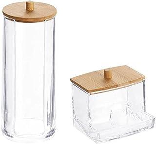 Tampons de coton Support multifonctions cosmétiques en plastique avec couvercle Pot de rangement en bambou 2PCS coton-tige...