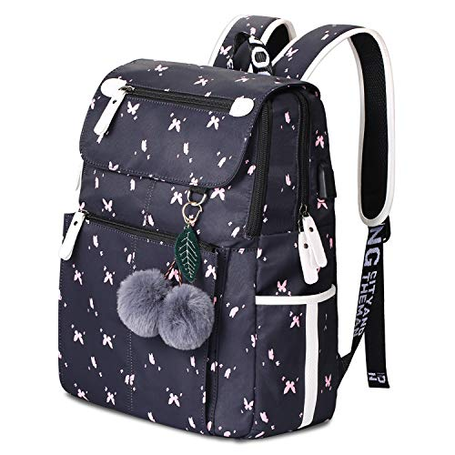 Rucksack Schule Mädchen Lightweight Damen Schulrucksack Fashion Floral Backpack for Teenager Girls mit USB Charging Port (2-Schwarz)