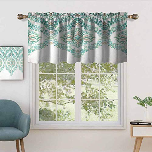 Hiiiman Premium Rod Pocket Valance Curtain Panel Retro Middle Age Symmetrical Traditional Gothic Garland Forms, Set of 2, 42'x36' for Indoor Decoration