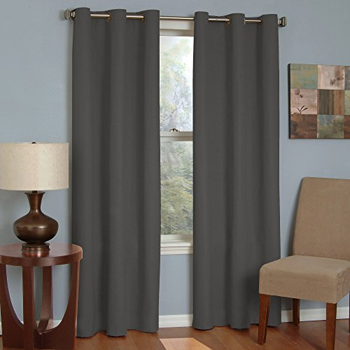 ECLIPSE Microfiber 100% Blackout Thermaback Window Curtains for Bedroom (Single Panel) 42' x 63', Smoke