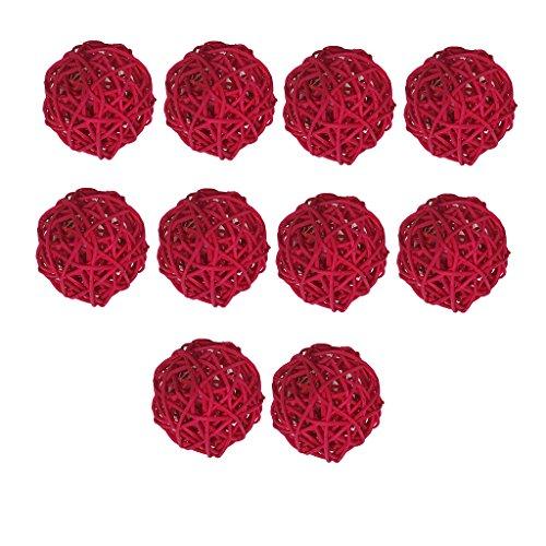 Hellery 10 Piezas De Mimbre Simple Bola Bolas De Mimbre Esferas Decorativas Rota Ramita 5 CM - Rojo