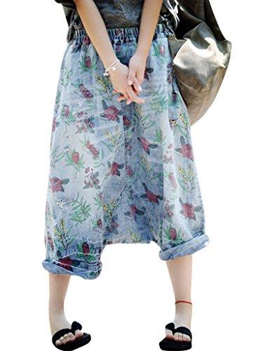Youlee Mujer Verano Cintura elástica Flor Impreso Pantalones de Pierna Ancha Pantalones Vaqueros