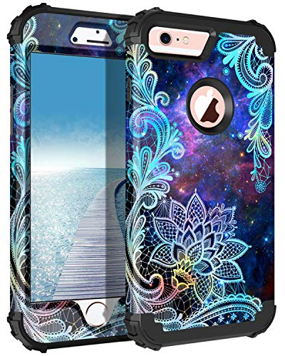 Casetego Compatible with iPhone 6S Plus Case,iPhone 6 Plus Case,Floral Three Layer Heavy Duty Hybrid Sturdy Shockproof Protective Cover Case for Apple iPhone 6S Plus/6 Plus,Mandala
