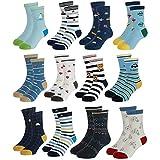 Yafane 12 Paar Baby Socken Antirutsch Anti-Rutsch Kinder Kleinkinder Babysocken für Baby Jungen und Mädchen (Grau, 3-5 Jahre)