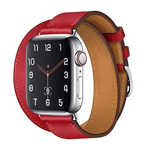 Correa para Apple Watch Band 44 Mm 40Mm Bucle De Cuero para Iwatch Band 42Mm 38Mm Double Tour Pulsera Correa De Reloj para Apple Watch 5 4 3 6, China, Rojo