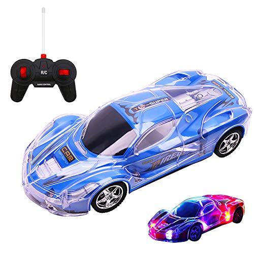 Kinder Spielzeugauto mit Fernbedienung Simulation Rennwagen mit 8 Bunten LED-Blinklichtern,Fernbedienung Beleuchtet Auto Rennsportwagen Blau