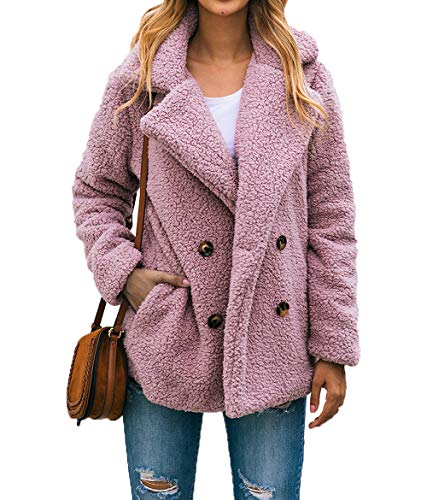 PRETTYGARDEN Women's Fashion Long Sleeve Lapel Zip Up Faux Shearling Shaggy Oversized Coat Jacket With Pockets Warm Winter (Z-Pink, Medium)