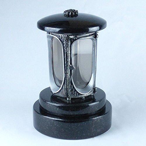 designgrab Aluminium Tombe Lampe avec socle en granit rond diamètre = 20 cm, hauteur 5 cm, en aluminium Aspect ancien et Granit suédois Black SS1 Noir