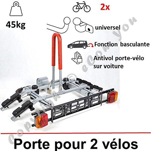 PORTE VELO SUSPENDU SUR ATTELAGE RABATTABLE POUR 2 VELOS   Porte-vélo