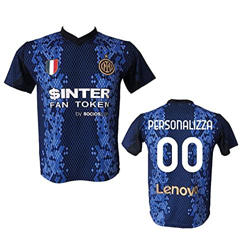 Maglia Calcio Inter nuovo logo Personalizzabile Replica Autorizzata 2021-2022 Taglie da Bambino e Adulto. Personalizza con Il Tuo Nome o Il Nome del Tuo Giocatore Preferito. (M (ADULTO))