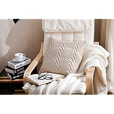 SHYEJA Knit Pillow Case, Throw Pillow, Beige Knit Pillow Case, 18X18 Decorative Couch Pillow