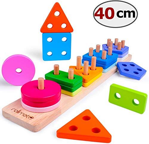 Juguetes educativos de Madera para 1 2 3+ años Juguetes para niños y niñas Forma Reconocimiento Tablero geométrico apilamiento Juguetes preescolares