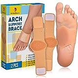 Gel Arch Support Brace for Flat Feet Men Women - Plantar Fasciitis Sleeve Pair - Planters Fasciitis Massager - Foot Compression Wrap - Aids High Arch, Fallen Arch, Foot Heel Pain (Fits All New)
