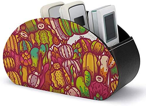 Calculadora para teléfono móvil, soporte para control remoto, cuero de PU, diseño de cactus, mesa, escritorio, organizador de almacenamiento con 5 compartimentos espaciosos para DVD / Blu-Ray / repro