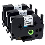 Label KINGDOM Compatible Label Tape Replacement for Brother P-Touch Label Maker TZ TZe Laminated Tape TZe241 TZ241 Black on White 18mm (3/4 Inch) x 26.2 Feet (8m), 3-Pack