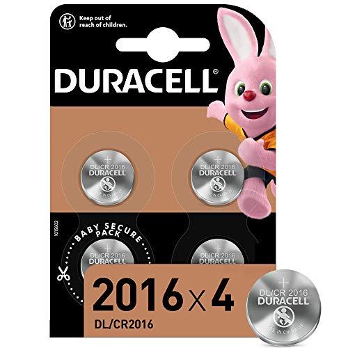 Duracell - 2016, Batteria Bottone al litio 3V, confezione da 4, con Tecnologia Baby Secure per l'uso su chiavi con sensore magnetico, bilance, elementi indossabili DL2016/CR2016