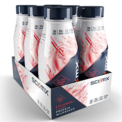 SCI-MX Nutrition Protein Shake, Ready to Drink, Strawberry, Pack of 6 x 500 ml
