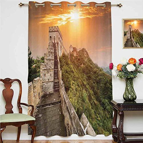 Cortina de puerta corredera Great Wall of China con el magnífico patrimonio del mundo de fondo de ladrillo fronteras de imagen térmica, panel individual de 160 x 160 cm, para oficina naranja verde