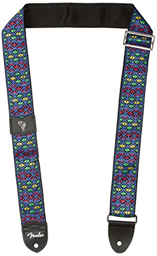 """Fender Eric Johnson """"The Walter"""" Signature Strap, Blue with Multi-Colored Triangle Pattern"""