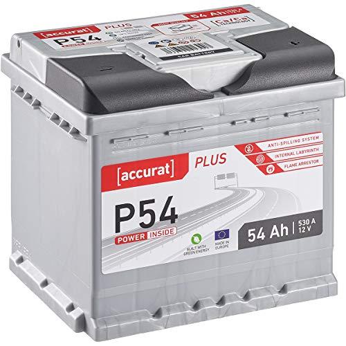 Accurat 12V Autobatterie 54Ah 530A-Kälteprüfstrom Blei-Säure Starterbatterie für PKW wartungsfrei