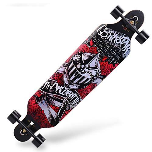 SONGTING Step stool Skateboard Komplett Für Erwachsene Und Anfänger - 40 Zoll Drop Down Longboard Komplett Skateboards Für Downhill Freeride Cruising Carving Skateboard Tool Enthalten