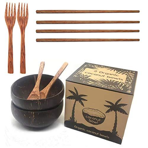 Coconut Bowl Set Bowl Coco y Cuchara Palillos Bol de Coco Cubiertos Madera Hecho a Mano Bowls Desayuno Naturales Cuenco...