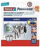 tesa Powerstrips LARGE - Strisce Adesive per Pareti Piane e Lisce - Peso dell'Oggetto fino a 2 kg - Confezione da 10 Powerstrips