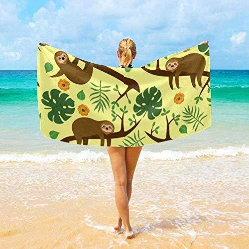 Yaxinduobao Toalla de Playa Accesorios de baño Lazy on a Branch Patrón Toalla de baño de Microfibra Toallas de Viaje Manta Suave súper Absorbente de Agua Toallas de playastj168