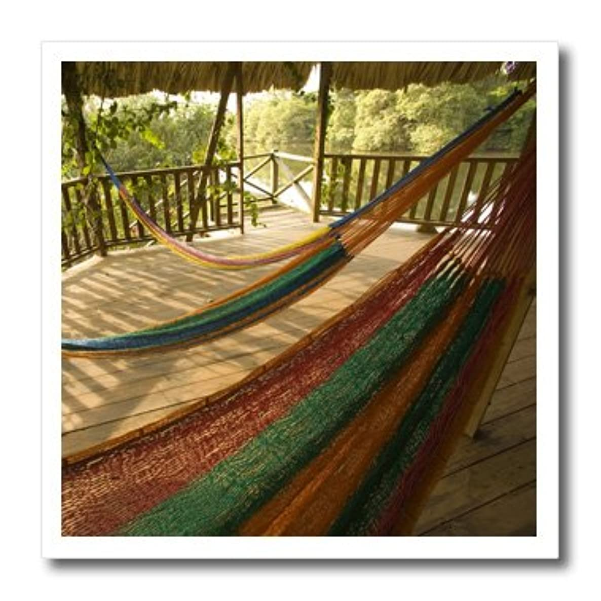 3dRose ht_85551_1 Hammock, Palms, Jaguar Reef Lodge, Belize - John and Lisa Merrill - Iron on Heat Transfer for White Material, 8 by 8-Inch