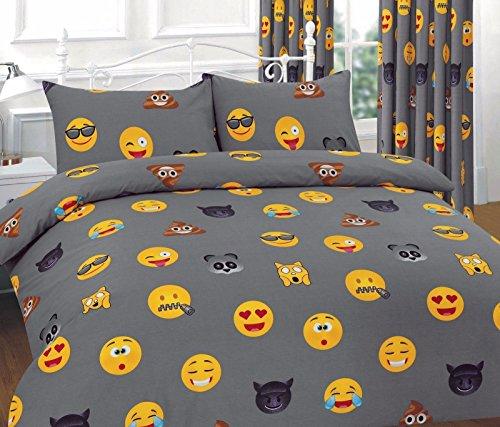 Clossy London Bettwäsche-Set mit Kissen- und Bettbezug mit Emoji-Muster, 50 % Baumwolle / 50 % Polyester, grau, Doppelbett
