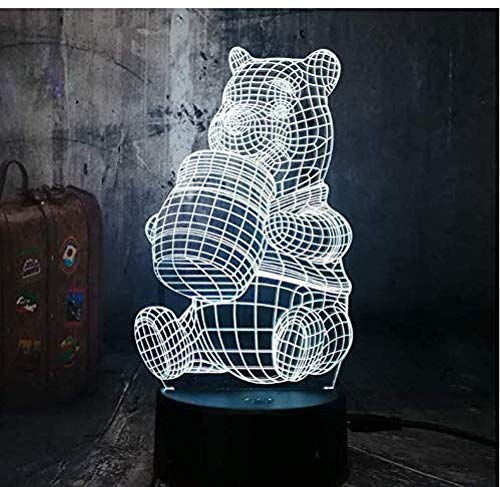 Niedlicher Honig Winnie Bär Nachtlicht-Birnen-Deko Licht-Kind-Geschenk-Karikatur-Neuheit-Atmosphäre-Noten-Stimmungs-Lampe Lava 3D Led